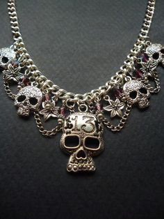 Gothic Skull statement necklace  Skull necklace  by BleedingHD