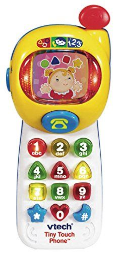 The Vtech Tiny Touch Phone is an interactive toy mobile phone which helps your child to learn numbers shapes and colours while developing hand-eye co-ordination and motor skills. The fun colorful d...