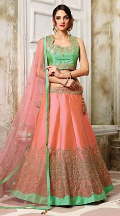 Showing Swagger Pink Tussar Silk Designer Lehenga With Contrast Choli