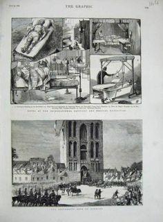 Antique Print 1881 university Fete Utrecht Sanitary Medical Exhibition.