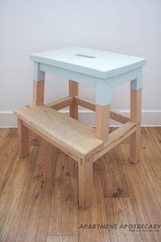 Dipped painted stool from ikea as bed side table