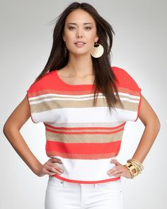 bebe Lurex Stripe Crop Sweater Top