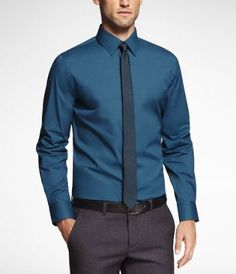 JJ - 1MX FITTED STRETCH COTTON SHIRT at Express Hypnotic Teal $60
