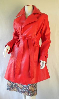 Mod Vintage 70s Bright Red Vinyl Trench Coat by fabcycled on Etsy, $45.00