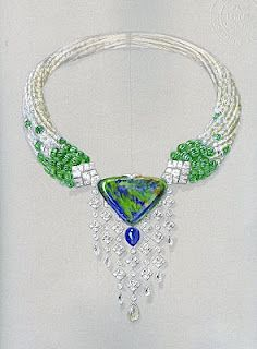 This necklace brought together a splendid all around the opal composed of a sapphire cabochon oval, pear less than drawing, 8-cut briolette yellow diamonds balls opal glitter, ribbed balls in emerald.