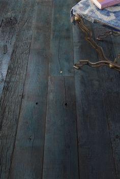 amazing indigo reclaimed wood flooring.