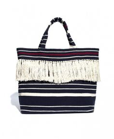 Madewell The Riviera Fringe Tote in Deep Navy