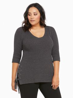 $41 - 3X - Plus Size Ribbed Knit Lace Up Sides Sweater, CHARCOAL HEATHER