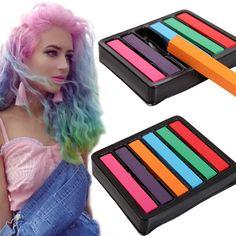 6 lápis de cor para pó tintura de cabelo temporária Chalk cabelo macio Pastels pânico Manic coloração pó de Giz Pastel Hots louco cor alishoppbrasil