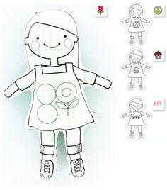 DIY Fabric Cut Sew & Color Doll by jenniferv on Etsy, $12.00