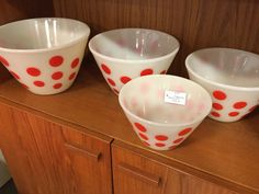 vintage Fire King red polka dot bowls set of 4 $225 in Booth 45