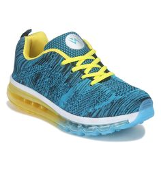 Yepme Blue Knitted Stretched High Performance Sports Shoes   #Blue, #SportsShoes, #LaceUp