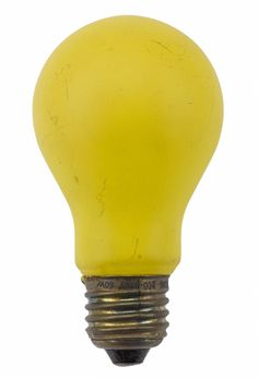 Lightbulb, 200-250 volt 60 watt, yellow glass bulb with an Edison screw cap, in the original carton, made by British Thomson-Houston, England. 1950-60's