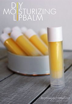 You will never believe how easy this DIY Moisurizing Lip Balm is to make!  In just under 20 min, you can have 25 lip balms complete!  Even better you can customize them any way you want and even add color by just using eye shadow or blush.  Your lips are going to love this all natural moisturizing lip balm!  myanythingandeverything.com #YLOils #DIYlipbalm