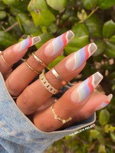 Diy Nails, Swag Nails, Line Nail Designs, Peach Acrylic Nails, Colorful Nail Art, Acylic Nails, Lines On Nails, Morning Dew, Beach Nails