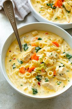 Soup Recipes 28288303898935407 - Creamy Chicken Pasta Soup Recipe – – Nutritious, easy and big on flavor, this delicious chicken pasta soup tastes like you spent all day in the kitchen, but it's done in less than 30 minutes! Chicken Pasta Soup Recipe, Creamy Chicken Pasta, Chicken Recipes, Chicken Soups, Chicken Chowder, Shrimp Pasta, Shrimp Recipes, Pasta Recipes, Easy Soup Recipes