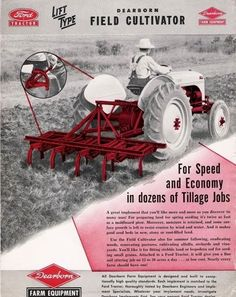 DEARBORN Field Cultivators Ad 8n Ford Tractor, Tractor Accessories, Tractor Implements, Tractor Attachments, Classic Tractor, Antique Tractors, Kubota, Old Fords, Vintage Farm