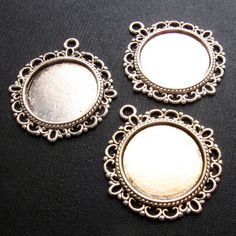 Pendant Tray Cabochon Setting Set of 3 Antique by LillianOlive