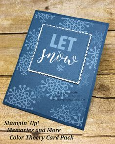 Stampin\' Up! Memories and More Card Packs. Winter card by Kay Kalthoff with #stampingtoshare using the Color Theory Card Pack.