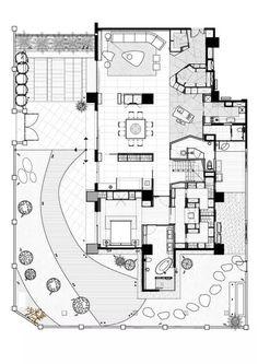 干货|唐忠汉:设计的核心是形体、格局、材质、肌理、光影... Duplex Floor Plans, Office Floor Plan, Craftsman Floor Plans, Modern Floor Plans, Modern House Plans, Small House Plans, House Floor Plans, Home Design Plans, Plan Design