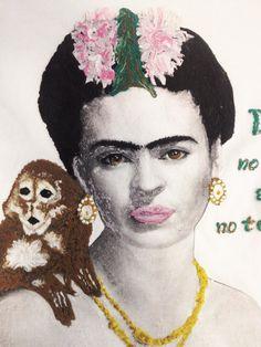 Frida Kahlo  and Monkey T-shirt Painting 3d camiseta pintada de Frida WEARABLE ART
