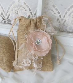 Wedding Burlap Favor Bag  Set of 6  by by BurlapandBlingStudio, $27.00