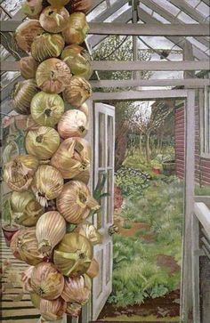 Greenhouse and Garden by Stanley Spencer