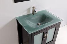 Virtu USA Zuri Inch Singlesink Bathroom Vanity Set Wenge Finish - Glass top bathroom vanity units