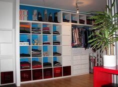 Expedit  bookshelves into a walk in closet  http://www.ikeahackers.net/2012/02/dress-to-impress-walk-in-closet.html