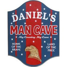 Northwest Gifts - Patriotic Man Cave Sign Personalized, $39.95 (http://northwestgifts.com/patriotic-man-cave-sign-personalized/)