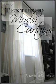 Last week we learned how to make these beautiful Muslin curtains. Muslin Curtains, Cute Curtains, Cheap Curtains, Drapes Curtains, Hanging Curtains, Shower Curtains, Cheap Window Treatments, Window Coverings, Home Bedroom