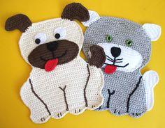 Ein süßes Paar! Hund Wuff und Katze Mauz nach eigenem Entwurf  gehäkelt.(Alle Häkelanleitungen ...