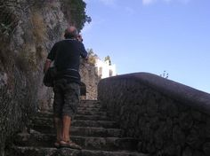 """Scala Fenicia (Phoenician Steps): the stairs on the island of Capri that go up to Anacapri, described in the book, """"Red Sails to Capri"""" used in Sonlight Core C."""