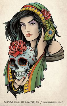 sp designed this tattoo of a beautiful gypsy holding a sugar skull for Tom Zoeter. Copyright Sam Phillips www.samphillips.co.nz