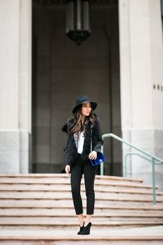 Top :: Club Monaco vest, ASOS blazer,  Armani Exchange tee   Bottom :: Gap  Bag :: Chanel  Shoes :: Giuseppe Zanotti   Accessories :: Janessa Leone hat, Jennifer Zeuner ring.