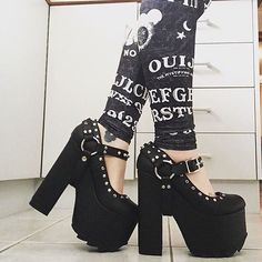 Strap #Shoes chunky heeled spiked studded harness style platforms. ♥️…