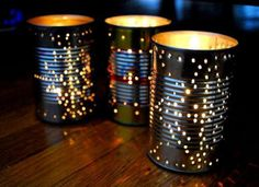 These punched-tin lanterns fromInhabitatare a great way to give old coffee cans new life. After stripping them of their labels, hammer small nail holes into yourcans—either freehand or over a printed pattern. (To prevent the cans from denting under pressure, place a piece of wood inside for stability.) Then just drop in a candle! Related: Get Organized - 25 Clever Ideas for Repurposed Storage