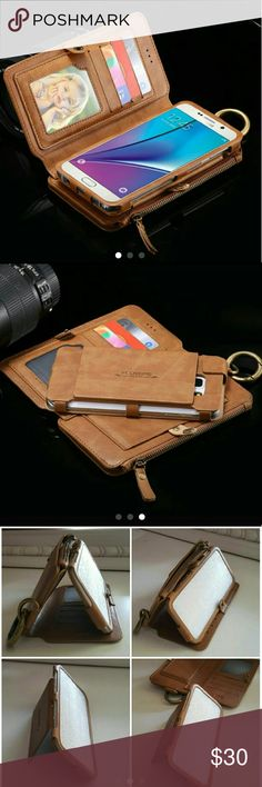 Cell phone wallet case Please read picture number 4 for compatibility. Brand New Tan/brown leather case. Holds 18 card. Includes for coins. Removable phone case. For Galaxy note 5 or Galaxy S6 Edge plus Accessories Phone Cases
