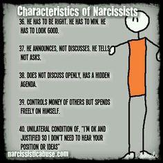 ☆ Characteristics of narcissists 36-40