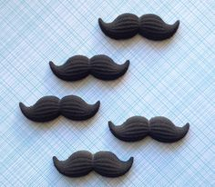 Mustache Edible Sugar Decorations for Cupcake and Cake Decorating (12) | Sweet Estelle's Baking Supply