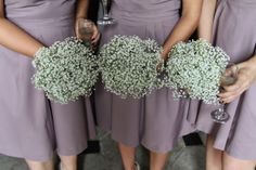 The Fabulously Wild Bridesmaids Bouquets of Gypsophilia