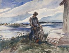 "Andrew Wyeth: In Retrospect | Fine Art Connoisseur ""Lobsterman ( Walt Anderson)"""