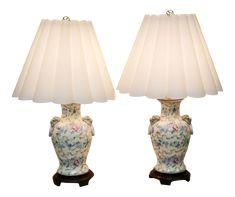 Vintage Ginger Jar Lamps With Foo Dog Handles by Toyo - a Pair Ginger Jar Lamp, Ginger Jars, Tall Lamps, Kitchen Lamps, Asian Furniture, Asian Decor, Tiffany Lamps, Vintage Lamps, Hollywood Regency