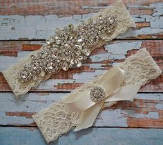 Rhinestone Wedding Garter Set, Crystal Bridal Garter, Wedding Garter, Bridal Garter Belt, Ivory Or White Bow With Rhinestone Toss, 1R7 by SpecialTouchBridal on Etsy