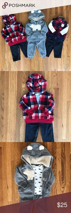 3 Adorable Outfits (or 1 outfit for $10) Set of three Carters 6M baby boy outfits.  From left to right: plaid red, blue and white zip up hoodie, solid short sleeve gray onesie, and pants.  Warm zip up hoodie, polar bear and woodsy print short sleeve onesie, and gray pants.  Red and blue zip up vest, long sleeve onesie, and pants. All in great condition  Carter's Matching Sets