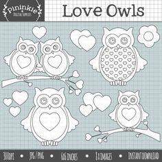 Love Owls Digital Stamps