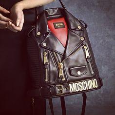 Biker jacket backpack: Moschino pre-Fall 2014