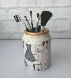 Makeup brush holder Decorative jars decoupaged by ElyssonCreations