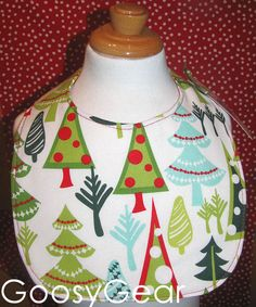 Christmas Tree Boutique Baby Bib. 100% cotton. Absorbent! Via Etsy.