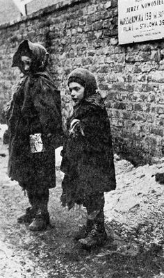 Children in the Warsaw Ghetto. There were few sources of heat those winters and child mortality was rampant.